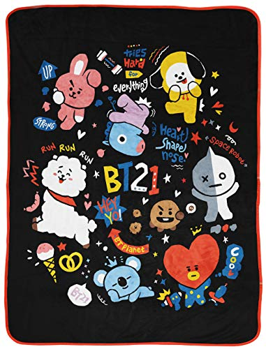 Jay Franco Line Friends BT21 Black & White Doodle Throw Blanket - Measures 46 x 60 inches, Kids Bedding - Fade Resistant Super Soft Fleece (Official Line Friends Product)