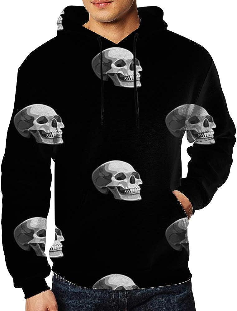 Mens Hooded Sweatshirt Long Sleeve Hoodie Halloween Skulls On Black Pullovers Sweaters Big Pockets