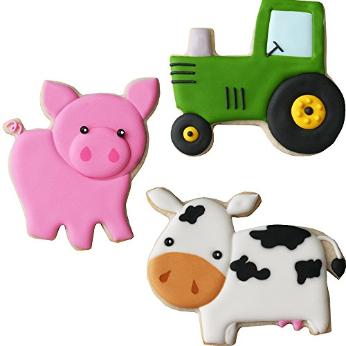 Cow Cookie Cutter - Sweet Elite Tools- Farm Stainless Steel Cookie Cutter Set: Pig, Tractor and Cow By Autumn Carpenter