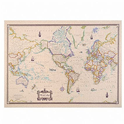 american map cleartype full color antique world map 50 x 38 inches 629013