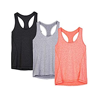 icyzone Workout Tank Tops for Women - Racerback Athletic Yoga Tops, Running Exercise Gym Shirts(Pack of 3)(M, Black/Granite/Orange)
