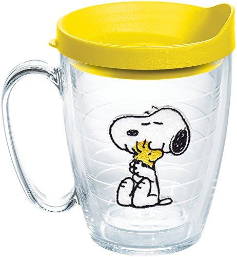 - Tervis 1140866 Peanuts - Felt Tumbler with Emblem and Yellow Lid 16oz Mug, Clear