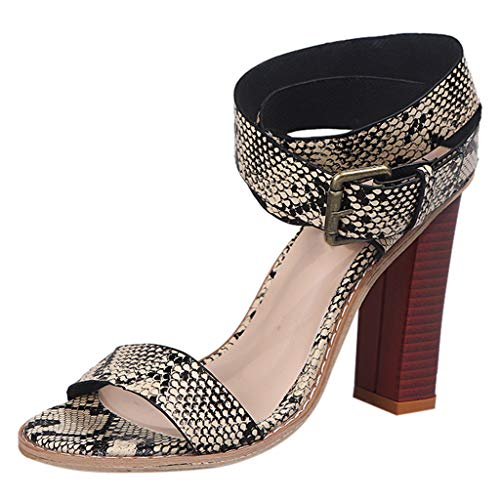 Women's Summer Open Toe Square High Heels Ankle Buckle Sandals Fashion Lady Shoe White