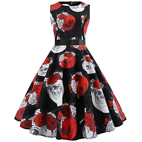 Big Sale! Daoroka Women Vintage 1950s Plaid Print Cocktail Party Swing Dress with Sash Sleeveless Retro Elegant Fashion Cute A Line Swing Ball Gown Sundress ()