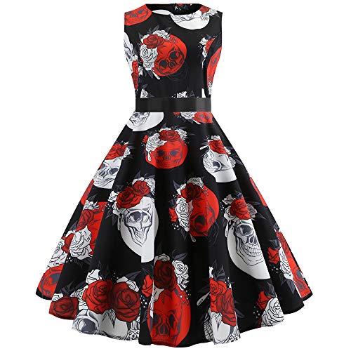 Big Sale! Daoroka Women Vintage 1950s Plaid Print Cocktail Party Swing Dress with Sash Sleeveless Retro Elegant Fashion Cute A Line Swing Ball Gown Sundress -