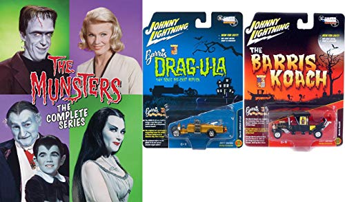 Boris Customs & The Munsters Bundle - The Munsters Complete Series DVD Set & Hobby Exclusive Model 2017 Silver Screens Drag-u-la & The Barris Koach as Seen in the Show 1:64 Diecast Bundle