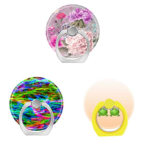 (Bsxeos 360°Rotation Cell Phone Ring Holder with Car Mount Work for All Smartphones and Tablets-Glowing Rainbow Abstract-Frog Prince and Frog Princess with Hearts-Gentle Pastel Peony Flower(3 Pack))