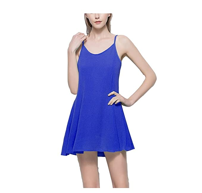Vestido Mujer Corto sin Mangas Gasa Mini Vestido sin Espalda de Verano