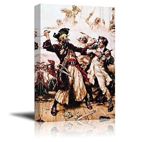 wall26 - Capture of The Pirate, Blackbeard by Jean Leon Gerome Ferris - Canvas Print Wall Art Famous Painting Reproduction - 24