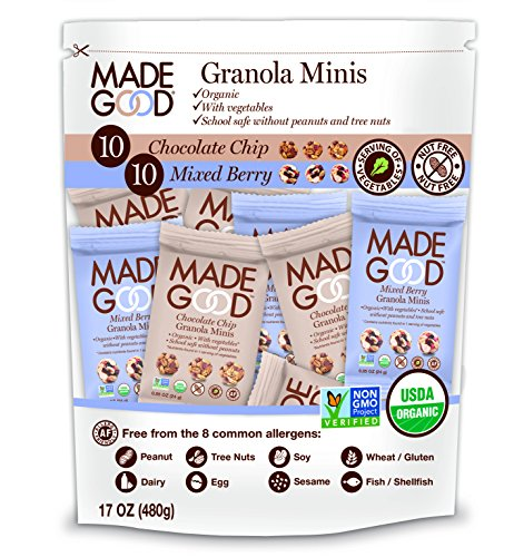 Made Good Minis- Mixed Flavors Pack of 20 - 10 Chocolate Chip & 10 Mixed Berry (Chocolate Mini Balls)