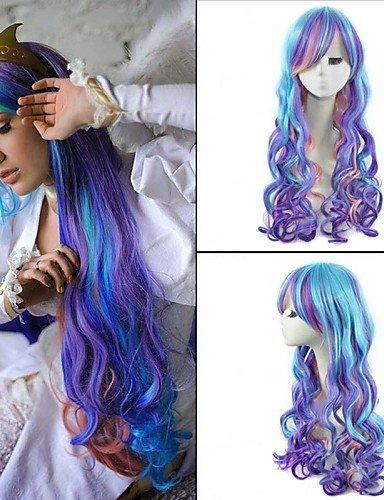 xzl Pelucas de la manera 50cm las mujeres onduladas largas de color peluca cosplay de anime