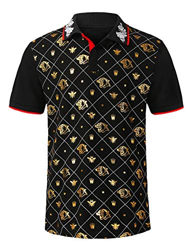 URBANCREWS Mens Hipster Hip Hop Gold Embroidery Pique Polo T-Shirt Black, XL