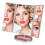 Easehold Vanity Makeup 2X 3X Magnifiers 21 LED Lights Tri-Fold 180 Degree Adjustable Countertop Cosmetic Bathroom Mirror (Rose Gold)