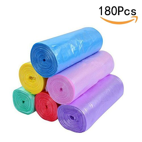 CTKcom 5 Gallon Tall Kitchen Trash Bags Roll Plastic Bags(6 Rolls)- Garbage Bags Colored for Kitchen Home Bathroom Bedroom Toilet Office Rubbish Bin Small Size 120 Counts/6 Rolls Trash Bags,6 (Colored Plastic Bags)