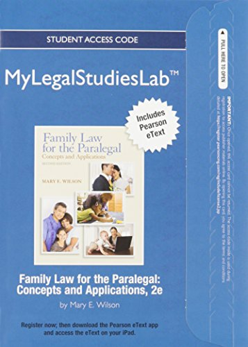 NEW MyLegalStudiesLab and Virtual Law Office Experience with Pearson eText -- Access Card -- for Family Law for the Para