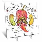 3dRose Sven Herkenrath Celebration - Cinco de Mayo Drawing of a Funny Chili - 6x6 Desk Clock (dc_281663_1)