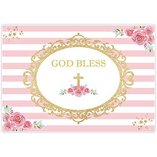 Allenjoy 7x5ft First Communion Backdrop Girl Baptism Pink Christening Floral Birthday God Bless Background Baby Shower Happy Birthday Party Cake Dessert Table Decor Decoation Banner Photo Booth