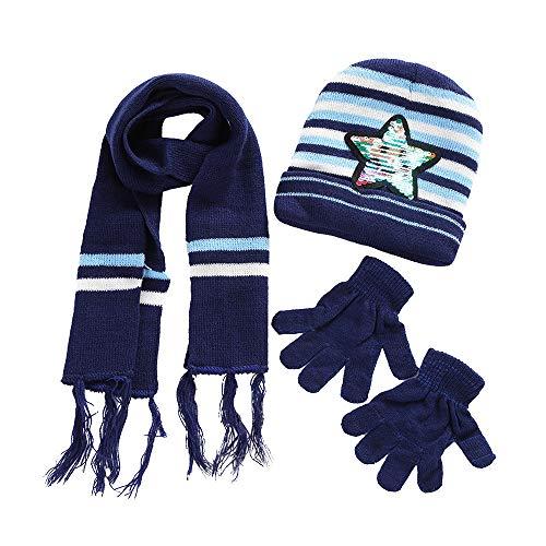 Muranba Clearance Children Sequin Knit Beanie Warm Caps+Scarf+Gloves Suit