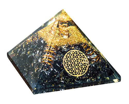 Crocon Black Tourmaline Gemstone Orgone Pyramid with 4 Copper Spring & Crystal Point Flower of Life Symbol Energy Generator for Reiki Healing Chakra Balancing & Emf Protection Size : 2.5-3 Inch