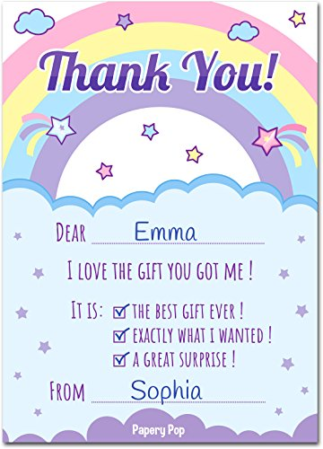 Kids Thank You Cards with Envelopes (15 Count) - Kids Birthday Thank You Notes for Girls Photo #3