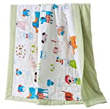 J-pinno Boys & Girls Cute Puppy Dogs Muslin Quilted Comforter Bedding Coverlet, 100% Long Staple Cotton, Throw Blanket Twin/Full for Kid's Bedroom Decoration Gift