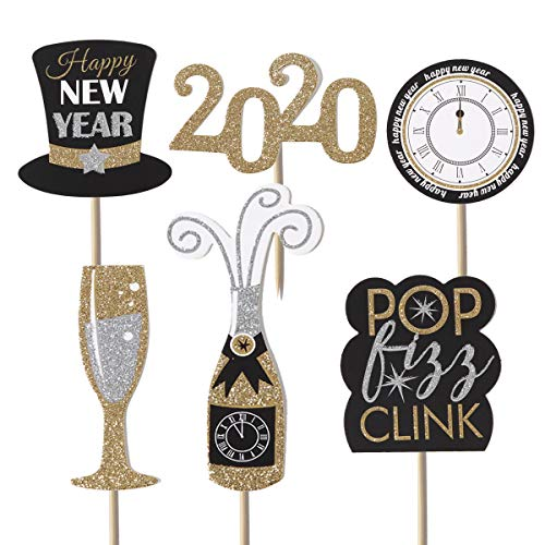 36 Pcs Gold Glitter 2020 Happy New Year Cake Cupcake Dessert Toppers Holiday Favors Ceremony Party Decorations for New Years Eve Party Clear Treat Picks Supplies