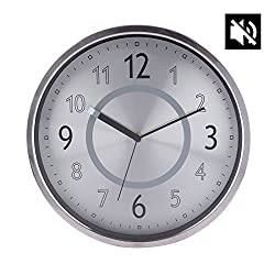 Lingxuinfo 12 Inch European Style Silent Round Aluminium Alloy Wall Clock Battery Operated for Living Room Kitchen Bedroom Study Room - Silver + White