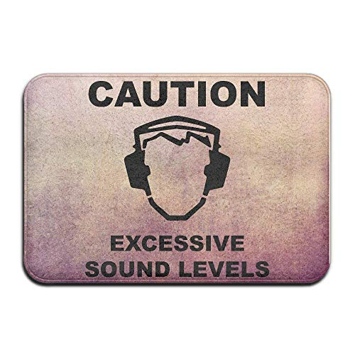 Etuwdie Caution Sound Level Indoor/Outdoor Doormat 15.7x23.6 Inch -