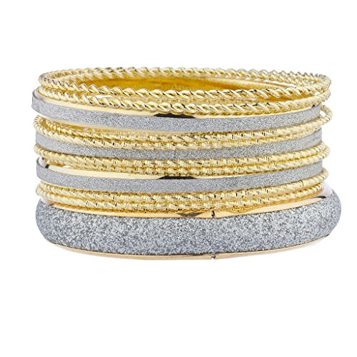 Lux Accessories Goldtone Silvertone Sticker Glitter Twisted Bangle Bracelet Set (12pcs)