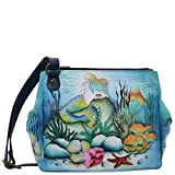 Anuschka Hand Painted Leather Women's Triple Compartment Convertible Tote, Little Mermaid