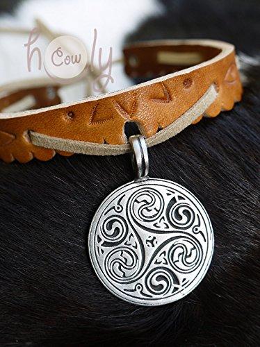 Handmade Leather Collar Metal Celtic Spiral Symbol Pendant