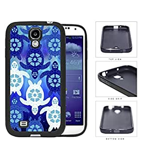 Blue Sea Turtles With Floral Designs Rubber Silicone TPU Cell Phone Case Samsung Galaxy S4 SIV I9500