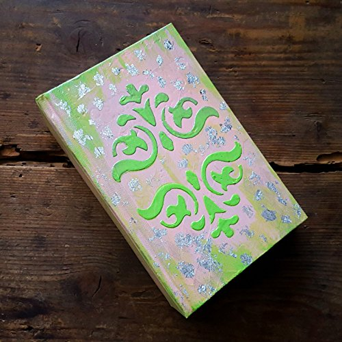 Wedding Guest Book Album with Silver Metallic Leaf ~ Hand painted and stamped Rustic Pink and Green by The Modern Haberdashery