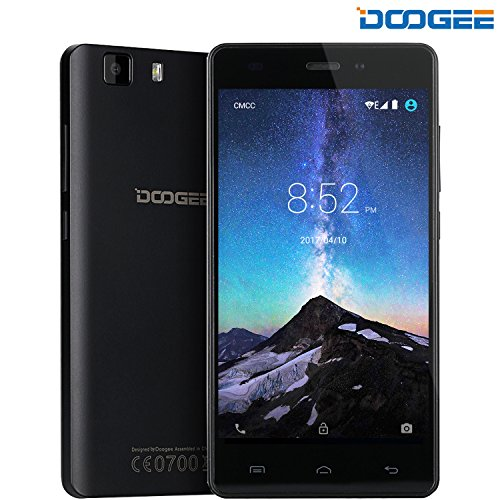 "Unlocked Cell Phones, DOOGEE X5 Dual Sim Smartphones - 5.0"" HD IPS Display - Android 6.0 - MT6580 Quad Core - 1GB RAM+8GB ROM - 5MP Camera - GSM Unlocked Phone International - Black(no ads)"