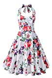 old dresses for women - Chicanary Women's Floral Printed Cotton Halter Swing Vintage Dress (Small, White)