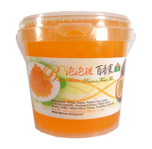 Bolle Popping Boba Pearls Bubble Tea, Ice Cream or Yogurt Topping 42.3 Oz. (Passion Fruit)