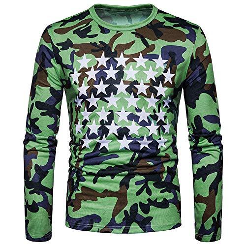 Belloc Men's Blouse Autumn Winter Casual Camouflage Long Sleeve O-Neck T-shirt (Green, S) (Spoon Long Sleeve T-shirt)