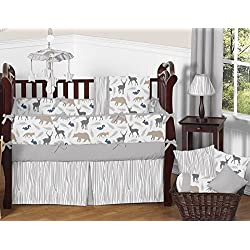Blue Grey and White Woodland Animal Safari Unisex 9 Piece Bear Deer Fox Crib Bedding Set