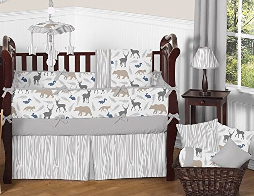 Sweet Jojo Designs 9-Piece Blue Grey and White Woodland Animal Safari Baby Boys Bear Deer Fox Crib Bedding Set