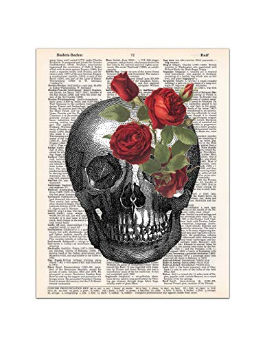 Skull with Red Roses, Halloween Gothic Print, Medical Anatomy, Dictionary Page Art, 8x11 UNFRAMED -