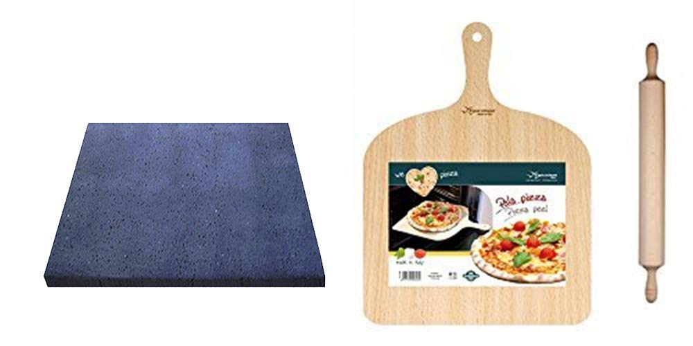 Kit Pizza en Pierre de lave Etna 39 x 35 cm: Amazon.fr: Cuisine & Maison