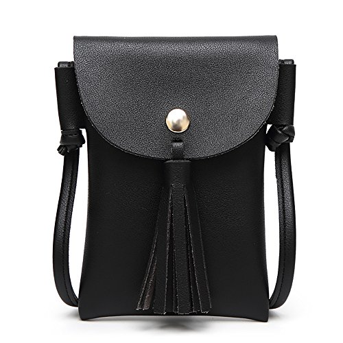 an style shoulder bag fashion trend mini tassel Crossbody bag Handbags Mini Cellphone Pouch Wallet Bag Satchels Cellphone Purse Crossbody(Black) (New Ladies Mini)