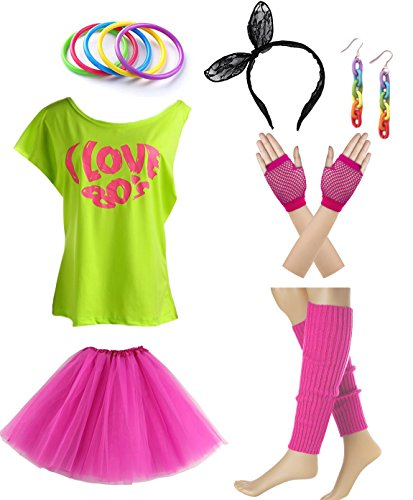 (I love 80s 1980s Costume Accessories Outfit Set)