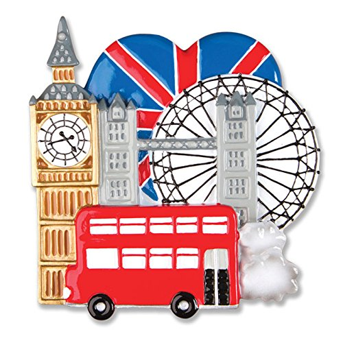 PERSONALIZED CHRISTMAS ORNAMENTS TRAVEL-LONDON ENGLAND