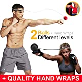Cicloop Boxing Ball Practice Headband Reflex Ball Punching Ball Set with Handwraps & Headband - Soft Boxing Equipment for Workout - Ideal Weight Loss Product for Men and Women Bonus: Free E-Book