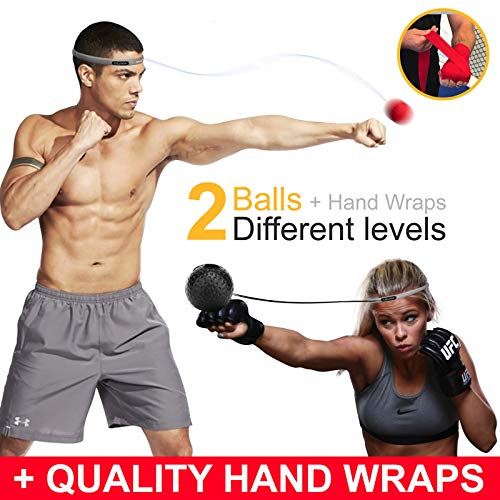 Cicloop Boxing Ball Practice Headband Reflex Ball Punching Ball Set with Handwraps & Headband - Soft Boxing Equipment for Workout - Ideal Weight Loss Product for Men and Women Bonus: Free E-Book by Cicloop
