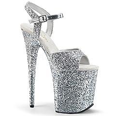 8 (20.3Cm) stiletto heel, 4 (10.2Cm) platform glitter ankle strap sandal