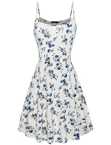 Cute Tank Dress,FANSIC Spaghetti Strap Printed Floral Dresses for Women Casual Sleeveless XX-Large White Casual Day Dresses