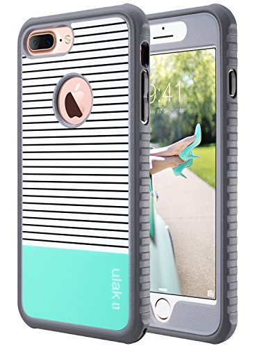 ULAK iPhone 7 Plus Case, Slim Shockproof Flexible TPU Bumper Case Durable Anti-Slip Lightweight Front and Back Hard Protective Safe Grip Cover for Apple iPhone 7 Plus 5.5 inch Mint Stripes Minimal