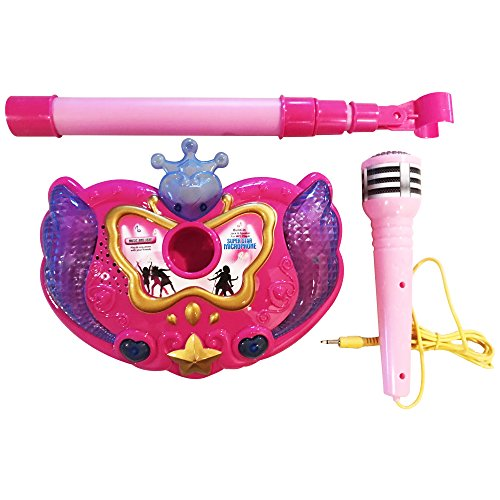 LilPals Princess Karaoke -Children's Toy Stand Up Microphone Play Set w/ Built-in MP3 Player, Speaker, Adjustable Height (Pink) by LilPals (Image #1)